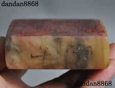 collect chinese natural shoushan stone Double sided Writings statue seal stamp