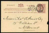 BRITISH VICTORIA local Postal Stationery 1889 BALLARAT cancel - Nice