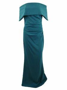 Vince Camuto Women's Dress Soild Green Size 14 Fold-Over Ball Gown $188 #599