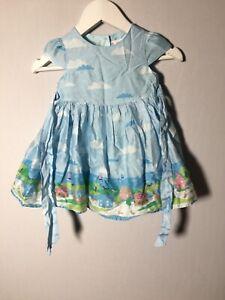 John Lewis Baby Girls Blue Dress Size 6-9 Months Cotton Good Condition