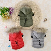 Warm Padded Dog Jacket Chihuahua Pet Winter Hoodie Puppy Cat Clothes Outfit Coat
