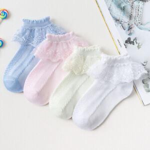 Infant Girls Lace Short Ankle Socks Frilly Ruffle Cotton Princess Socks Hosiery