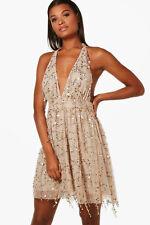 Boohoo Boutique Lil Sequin Halterneck Skater Dress Gold Size 8 Women Prom Formal