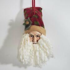 "Vtg Santa Claus Resin Face Yarn Beard Cloth Hat Bell Christmas Ornament 12"" Tall"