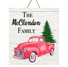 PERSONALIZED RED TRUCK CHRISTMAS TREE FAMILY SIGN METAL DOOR HANGER WALL DECOR