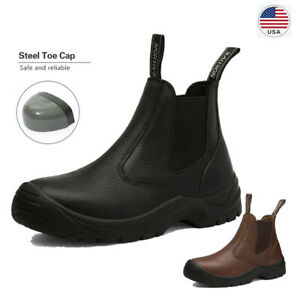 Men's Safetoe Leather Work Boots Safety Shoes Steel Toe Slip on Water-resistant