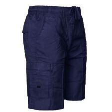 Mens Shorts Cargo Combat Summer Beach Cotton 6 Pockets Elasticated Waist Pants Navy 4xl
