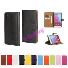 Wallet Real Leather Flip Card Plain Case Cover For Sony Xperia X F5121/F5122