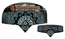Chop Top: Light Blue Reversed Paisley w/Rhinestones  Casual Head Wrap Capsmith