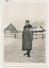 Foto Wehrmacht-Offizier im Pelzmantel-Schiffchen-Schlesien 2.WK (g437)