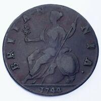 1744 Great Britain 1/2 Penny (F) Fine Condition, KM# 579.1