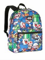 "NEW Bioworld Nintendo Super Mario Bros. 16"" Backpack Luigi Yoshi All over print"
