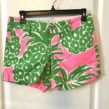 Lilly Pulitzer Floral Pink  Green Palm Callahan Shorts Size 0 Beach Cute Lovely