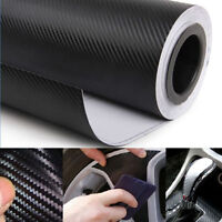 "3D Black Carbon Fiber Vinyl Car DIY Wrap Sheet Roll Film Sticker Decal 20"" x 50"""