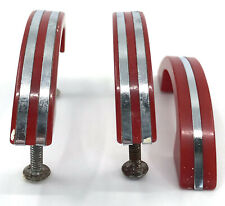 Drawer Pull Cabinet Handle x 3 Red Bakelite 50s Diner Mid Century 4in Vintage