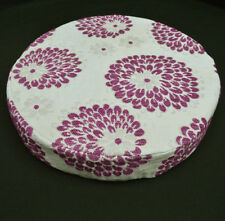 we604r Purple Orchid Aster Chenille Round 3D Box Shape Sofa Seat Cushion Cover