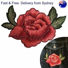 Rose Sew on patch - red flower blossom applique embroidery with leaves patches