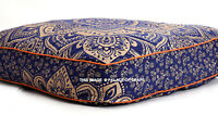 Blue & Gold Ombre Mandala Indian Square Floor Pillow Outdoor Seat Cushion Pouf
