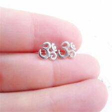 Simple Women Yoga Om Ohm Earrings Silver Ear Studs mini Earring Jewelry