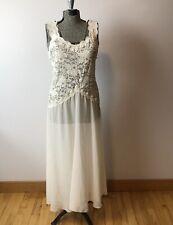 Vtg Victoria Secret Cream Long Lace Sheer Nightgown w/Satin Bows Sz M Romantic