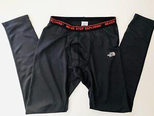 Men's North Face Black Base layer Pants Size Small Logo Never Stop Exploring EUC