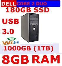 Ordinateur Dell PC Core 2 Duo USB 3 Windows 7/10 8 Go RAM 1 To HD 180 Go SSD HD