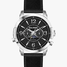 NEW Paul Perret 12183 Men's Swiss Moonphase Anatole Silver/Black Leather Watch