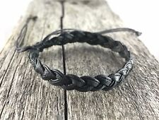 Black Leather and Waxed Cotton Bracelet / Wristband Anklet Mens Womens