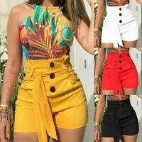 Damen Sommer Bermuda Shorts Freizeit Kurze Hose Hohe Taille Hotpants Übergröße