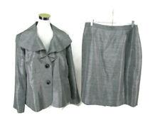 Le Suit Skirt Suit Sz 16W Gray Shimmery All Season Peplum Blazer NWOT