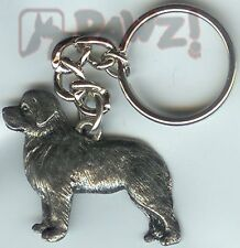 Newfoundland Dog Fine Pewter Keychain Key Chain Ring