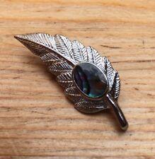 Vintage Silver Tone Leaf Brooch/Shell Inlay/Pin/Fur/Lace/Retro/Dainty