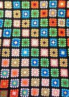 Afghan Throw Blanket Handmade Crochet Black Border Granny Square Yarn Bedspread