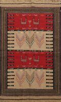 Traditional Tribal Kilim Geometric Oriental Area Rug Wool Hand-Woven Carpet 4x6