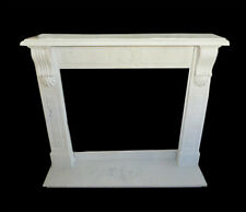 Cornice Caminetto Camino in Marmo Bianco Classico Old Fireplace Marble Frame Top