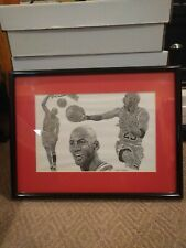 MICHAEL JORDAN Frank Nareau Framed Print - CHICAGO BULLS