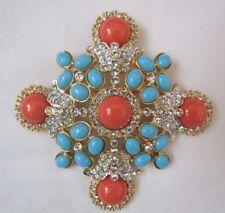Kenneth Jay Lane Turquoise & Coral Renaissance Maltese Cross Brooch/Enhancer New