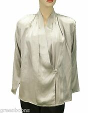 Alfred Sung Ladies Silver 100% Shantung Silk Wrap Over Front Blouse 10 $499