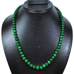 200+Ct Natural High Polished Green Emerald Perfect Round Cab Beaded Necklace 19""