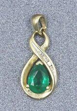 9ct Yellow Gold Emerald & Diamonds Ladies Pendant