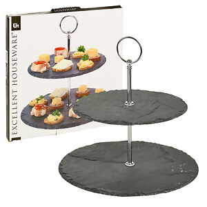 2 Tier Layer Slate Cake Food Stand Round Centre Piece Display Serving Wedding