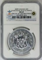 2009 NGC Canada $5 Silver Vancouver 2010 Olympics MS69 One of 1st 200,000 Struck
