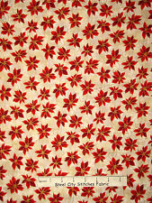Christmas Fabric - Poinsettia Red Flowers Gold RJR 1987 Holiday Accents - Yard