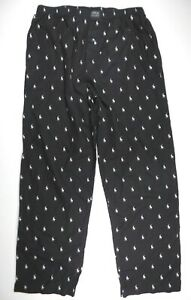 Ralph Lauren Polo Medium PJ Bed Sleepwear Black Logo Horse Lounge Pants
