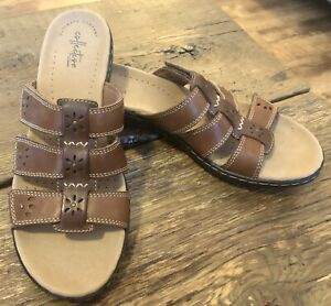 Clark's Collection Ultimate Comfort Women's Sandal Brown Slip On T-strap Size 10