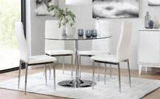 Orbit & Renzo Round Glass & Chrome Dining Table And 4 Chairs Set (White)
