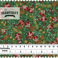 Christmas Fabric Baubles & Crackers on green 100% cotton 1 metre