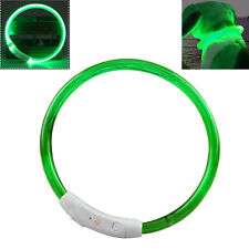 US Rechargeable USB Waterproof LED Flashing Light Band Safety Pet Dog Collar NEW