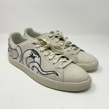 Puma Men's Clyde Snake Embroidery Pack Whisper White Shoe Size 10.5 368111-01
