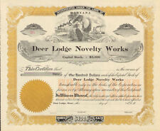 190_ Deer Lodge Novelty Works > Montana old stock certificate share scripophily